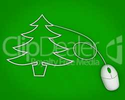christmas tree depicted with computer mouse cable over green