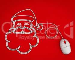 smiling Santa depicted with computer mouse cable over red