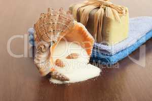 bath accessories background - handmade soap, towels and salt
