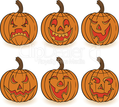 Halloween set of six pumpkins