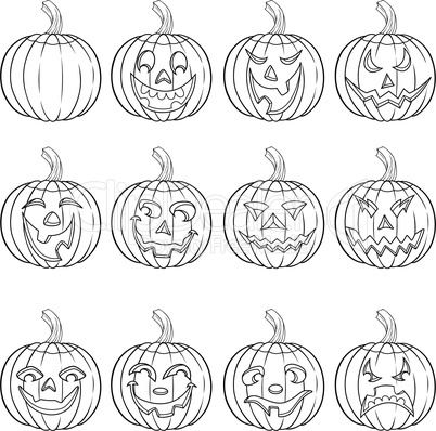 Halloween set of twelve pumpkin outlines