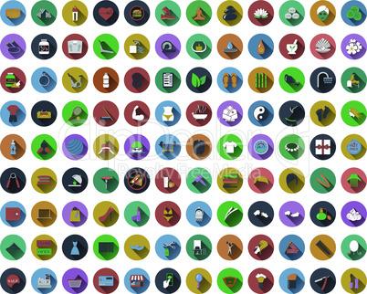 Big set of circle flat design icons