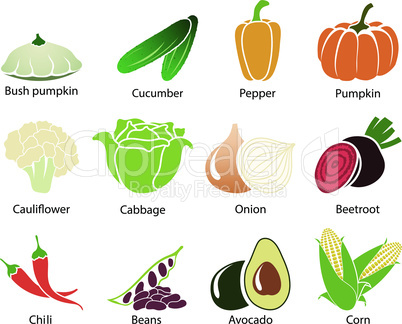 Vegetable Icons With Title