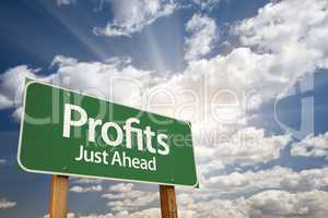 Profits Green Road Sign Over Clouds