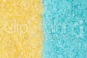 blue and yellow bath salt background