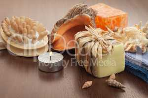 bath accessories background - handmade soap, massager and towels