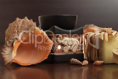 bath accessories background handmade soap seashell