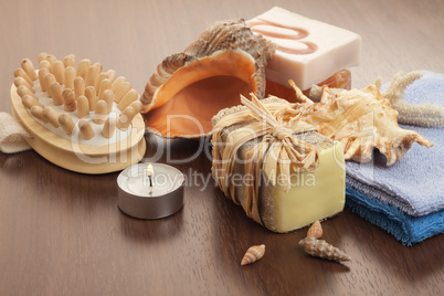bath accessories background with handmade soap