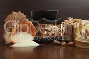 bath accessories background - handmade soap, massager and salt