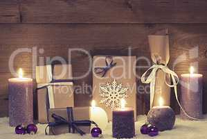 Vintage And Shabby Chic Purple Christmas Gifts With Candles