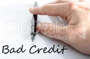 Bad credit text concept
