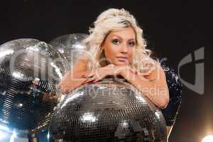 Young Woman And Disco Ball