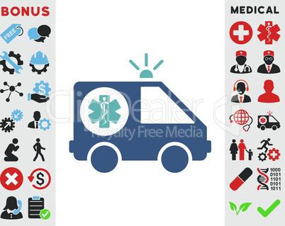 BiColor Cyan-Blue--ambulance car.eps