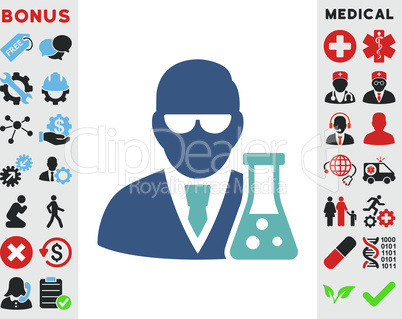 BiColor Cyan-Blue--scientist with flask.eps
