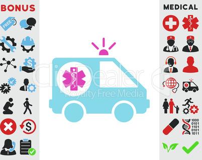 BiColor Pink-Blue--ambulance car.eps