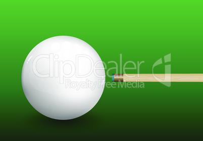 Billiard Cue Aiming on Ball