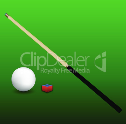 Billiard Cue, Ball and Chalk