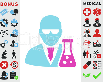 BiColor Pink-Blue--scientist with flask.eps