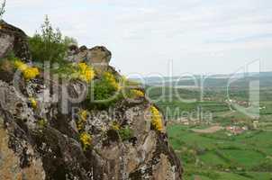 Volcanic rocks above village
