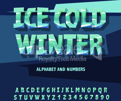 Ice alphabet and numbers, vector illustration.