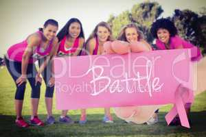 Battle against five smiling runners supporting breast cancer mar