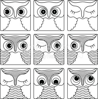 Nine outlines of owl faces in square shapes