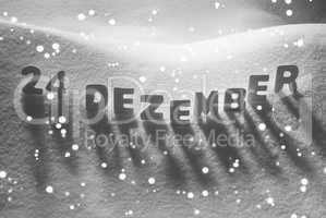 White Word 24 Dezember Means 24th December On Snow, Snowflakes