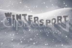 White Word Wintersport On Snow, Snowflakes