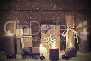 Vintage And Shabby Chic Purple Christmas Gift With Candle, Stars