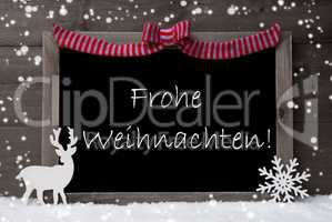 Gray Card, Snowflake, Loop, Frohe Weihnachten Mean Christmas