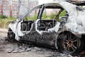 Arson fire burnt wheel car vehicle junk