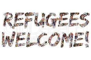 Refugees welcome Flüchtlinge willkommen multikulturell Gruppe j