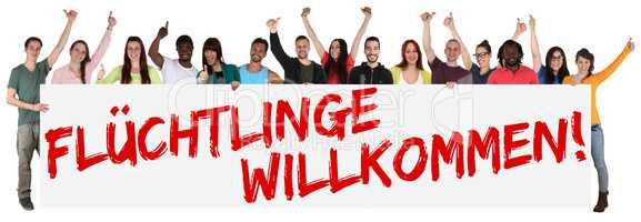 Flüchtlinge willkommen Willkommenskultur multikulturell Gruppe