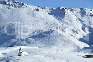 Church of Vik in wintertime, Iceland