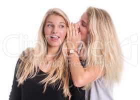 2 Blondinen tuscheln