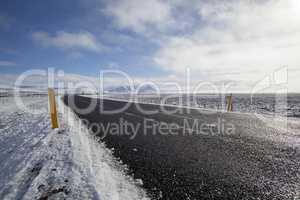 Snowy road in wintertime
