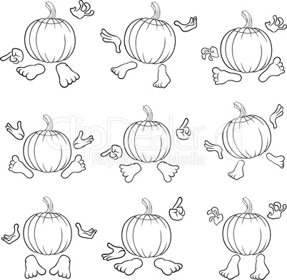 Outlines of gesticulating funny pumpkins in hats