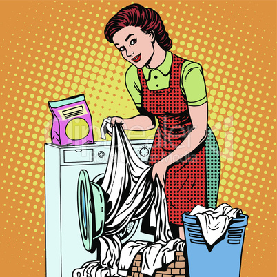woman washes clothes washing machine