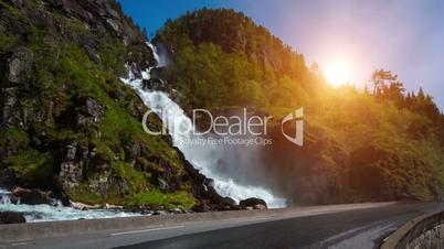 Latefossen Waterfall Odda Norway. Latefoss is a powerful, twin waterfall.