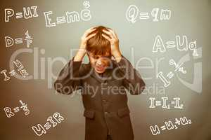 Teen boy scientist fails holding his head formula physics scienc