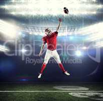 Composite image of american football player trying to catch foot
