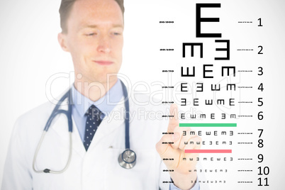 Composite image of doctor pressing touchscreen over white backgr
