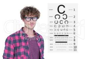Composite image of handsome man wearing geek glasses over white