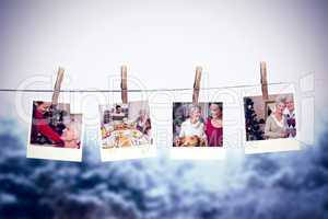 Composite image of clothes peg on line with instant photos