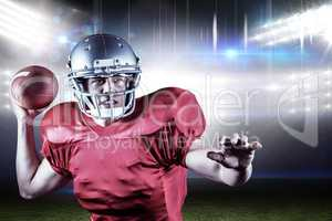 Composite image of determined american football player throwing