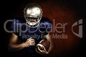 Composite image of sports player wearing helmet while holding ba