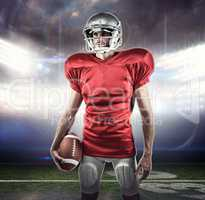 Composite image of american football player in red jersey lookin