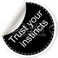 Trust your instincts. Inspirational motivational quote. Simple trendy design. Black and white stickers.