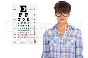 Composite image of pretty woman in glasses