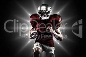 Composite image of american football player in red jersey runnin